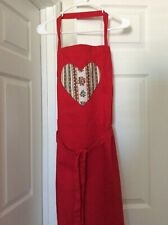 Red Kitchen Apron with Pierre Deux Avignonet Bordure French Country Toile Heart