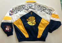 Golden State Warriors Pro Player Jacket Blue White Gold 90s Men's XL Vintage