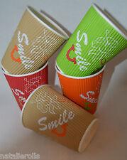 12oz Coffee Cups Ripple Wall Disposable Paper Tea Coffee Takeaway