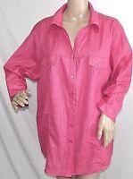 Southern Lady Women Plus Size 1x 2x 3x Fuchsia Floral Top Button Down Shirt