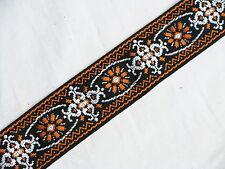 LM Jaquard orange RETRO pattern GUITAR strap NEW nylon - LEATHER ends
