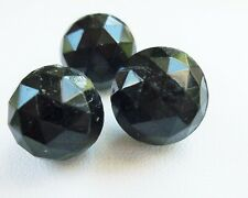 Antique Victorian Jet Black Glass Faceted Ball Shank Button Set Of 3