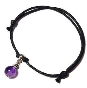 Black Cord Amethyst Ankle Bracelet Adjustable Anklet Silver Hippy Surfer Boho