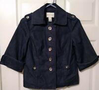 White House Black Market Denim Jacket Size 2 Blue 3/4 Sleeve Button Front EUC