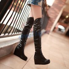 Women Sexy Over The Knee Platform Shoes Plus Size High Heel Wedge Thigh Boots