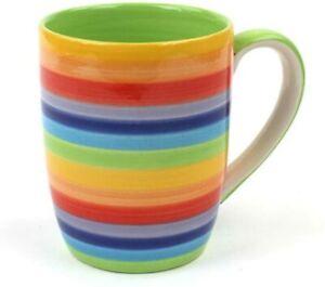 Rainbow Ceramic Mug Tea Coffee Mug Bright Stripey Colours