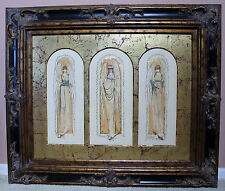 Watercolor!Three Angels-Each Arch Matted!Large! Decorative! Ornate Frame-Unique!