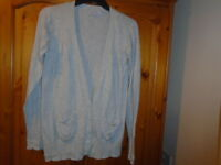 Grey long sleeve hip length cardigan, MATALAN (BE BEAU Range), size 12, see desc