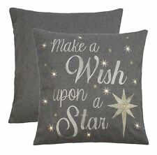 """EMBROIDERED CHRISTMAS WISH STAR LIGHT UP WOOL EFFECT GREY 18""""-45CM CUSHION COVER"""