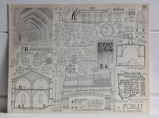 Stampa architettura COUVENT CISTERCIEN DE POBLET 1958 Dettagli architettonici
