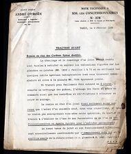 """Concessionnaire AUTOMOBILE CITROEN TRACTION AVANT """"NOTE TECHNIQUE N°378"""" 1939"""