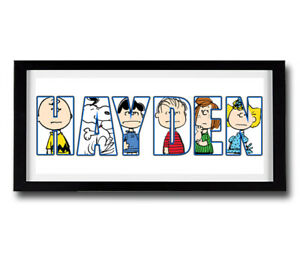 SNOOPY CHARLIE BROWN Personalised Name Print Art - High Quality Frame Included