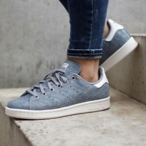 Adidas Stan Smith Gray/Blue Snakeskin Shoes 8 Retails $110