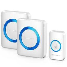 TeckNet Waterproof Twin Wall Plug-in Wireless Cordless Doorbell Door Chime 300m
