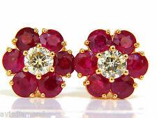 █$9500 6.48CT NATURAL FINE GEM RUBY DIAMOND CLUSTER EARRINGS 14KT VIVID RED █