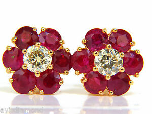 █ 6.48CT NATURAL FINE GEM RUBY DIAMOND CLUSTER EARRINGS 14KT VIVID RED █