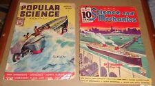 2 RARE 1935 Science & Mechanics & 1937 Popular Science Magazines Great Articles