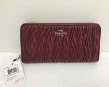 NWT Coach Madison Gathered Twist Leather Accordion Zip Wallet F54003 - Burgundy