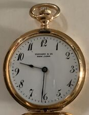 18k Gold Tiffany Pocket Watch With Patek Philippe Wolf Teeth Movement, With Box.