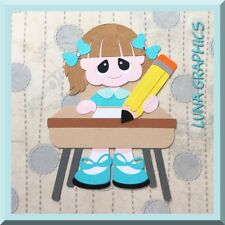LIVE & LEARN SCHOOL GIRL AT DESK EMBELLISHMENT card toppers scrapbooking