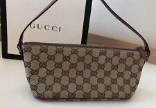 Gucci Boat Pochette GG Canvas Mini Bag - Red Textured Leather -SN-07198-1223