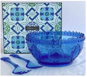 Baci Milano Baroque & Rock Blue Collection Acrylic Salad Bowl & Servers Set