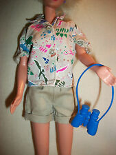 Barbie Paleontologist Clothes Khaki Shorts Shirt Top Dinosaur Binoculars 1996