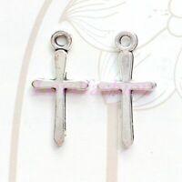 Wholesale 200pcs Tibetan Silver Glossy Cross Charms Pendant Beads 21x11mm