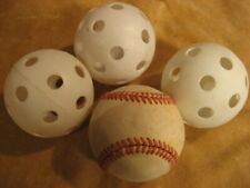 3 Whiffle & 1 Baseball Practice Balls -- Okay to Lose Free Ship