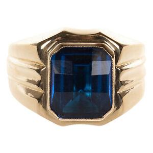Herren Ring in Gold 750 mit saphirblauem Stein Gr. 62 (D2284)