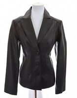 East 5th Womens 100% Leather Moto Blazer Tailored Jacket Coat Brown Sz Large