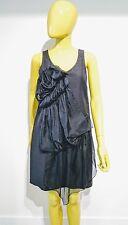 3.1 Phillip Lim Ruffled Black Linen Blend Dress Size 2