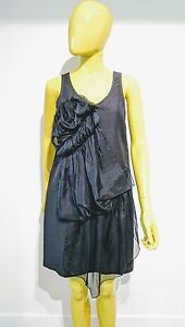 3.1 Phillip Lim Ruffled Black Linen Blend Dress Size 2