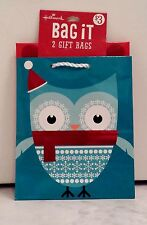 Set of 2 Hallmark Blue Red White Owl and Red Polka Dot Small Gift Bags