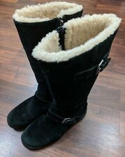 Ugg Black Suede Leather Womens Boots Mid Calf Buckle US 7 EU 38 UK 5.5