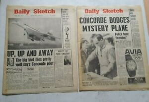 DAILY SKETCH NEWSPAPERS - 3 MARCH & 10 APRIL 1969 - CONCORDE AIRCRAFT etc