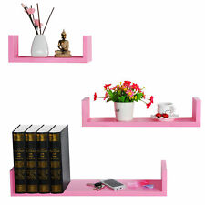 Wall Shelves Floating Wall Mounted Shelf MDF Cube Pink URG9239rs