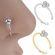 Crystal Rhinestone Nose Ring Bone Stud Surgical Steel Body Piercing Jewelry NTPK