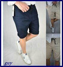 bermuda da uomo cotone pantaloni corti lino pantaloncini con elastico blu M L XL