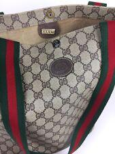Vintage 1970s Gucci Monogram Tote Shopper Purse Women's Hand Bag Beach Bag