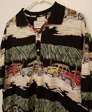 Kalaheo Hawaiian Polo Shirt Woody Palm Trees  XL Made in Hawaii USA Cars