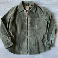 New vintage ami suede leather line button green Jacket Womens Size medium