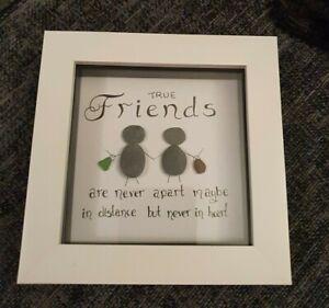 Friends Pebble Art Stone Frame Personalized. handmade gift love family mom