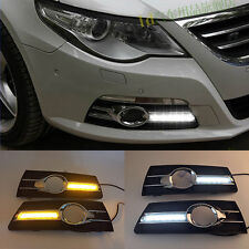 2x LED Daytime Running Light DRL Fog Lamp w/ Turn Signals For VW Passat CC 09-12
