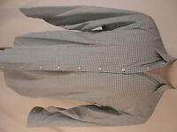 Armani Collezioni Mens Light Blue Check Long Sleeve Shirt L