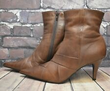 Womens Barratts Brown Leather Zip Up High Heel Ankle Boots Shoe Size UK 7