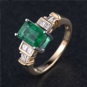 Vintage Natural Green Emerald Diamond Engagement Women Ring Solid 14K Gold