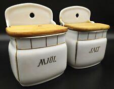 2 antike Vorratsbehälter Metzen Wandbehälter Mehl Salz Schweden Porzellan Holz