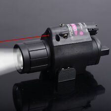 Combo CREE Flashlight+Red Dot Laser/Sight Weaver Rail For Pistol/Gun Set Tool