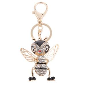 Rhinestone Crystal Charms Handbag Purse Key Hanging Flying Bee Pendant Keyring